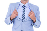 businessman holding his jacket