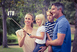 Happy family using a selfie stick in the park