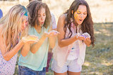 Young women having fun with powder paint