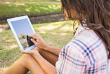 Pretty brunette sitting in the grass and using tablet