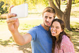Cute couple doing selfie in the park