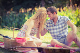 Young couple on a picnic looking at each other