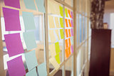 Wall with post-it on