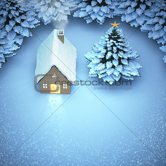aerial view snow christmas. the light out come the door home and