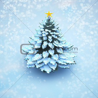 aerial view snow christmas tree pine isolated.