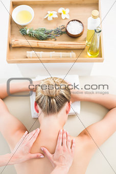 Beautiful blonde enjoying a herbal compress massage