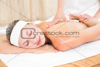Blonde enjoying a back massage