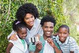 Happy family taking a selfie