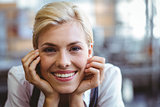 Selfassured female waitress smiling