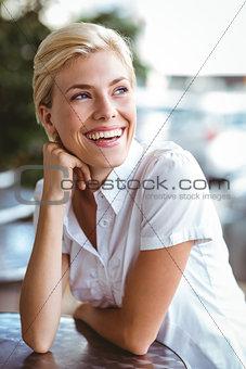 Cafe owner smiling