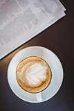 Close up view of a cappuccino