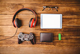 Tablet music headphone wallet glasses and USB key