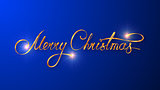 Gold Text Design Of Merry Christmas On Blue Color Background