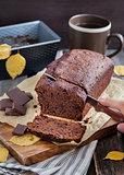 Homemade chocolate banana loaf cake