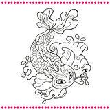 Japanese carp - line drawing vector image