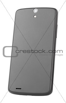 Backside of modern smartphone isolated on white