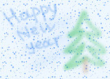 picture post card with snowflakes and New Year