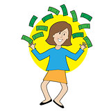 Happy Lady and Money