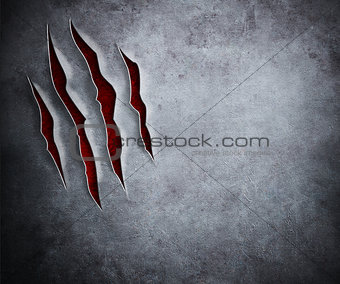 claw cuts on metal background