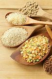 assortment of different grains - buckwheat, rice, lentils