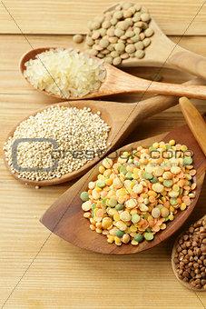 assortment of different grains - buckwheat, rice, lentils