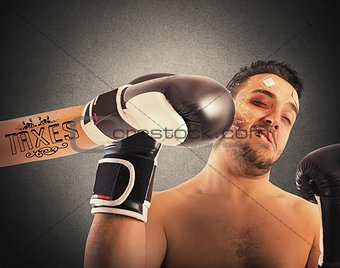 Boxer with taxes tattoo