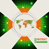Abstract orange green background with world map