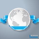 Flat globe with blue ribbon design