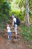 family hiking at kauai