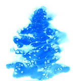 Blue christmas watercolor background with snowflakes