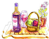 Wine tasting sketch - pen and watercolor drawings