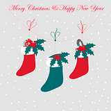 Christmas boots whith gray background