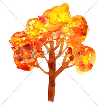 Abstract illustration of stylized yellow tree