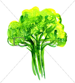 Abstract illustration of stylized green tree