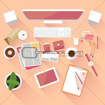 Flat office workspace