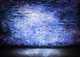 Murky brick wall in blue