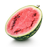 Half of ripe watermelon isolated on white
