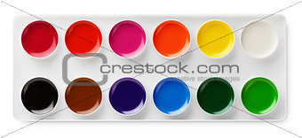 watercolor paints in box isolated on white