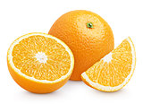 Orange citrus fruit with cut isolated on white