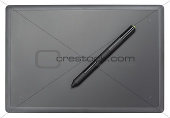 Top view of modern graphic tablet