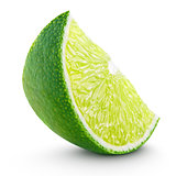Slice of lime citrus fruit isolated on white