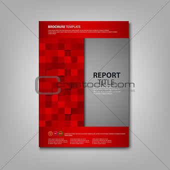 Brochures book or flyer with red squares template