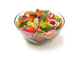 mixed vegetable salad with tomato pepper onion cucumber on a white background
