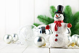 Snowman with christmas fir and balls