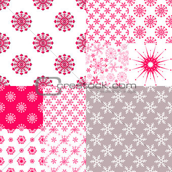 10 Seamless pattern with snowflakes