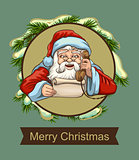 Santa reading letter and talking on phone. Template greeting card