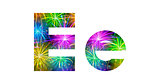 Set of letters, firework, E