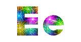 Set of letters, firework, E