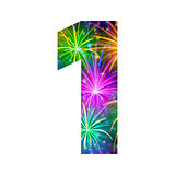 Number of colorful firework, one