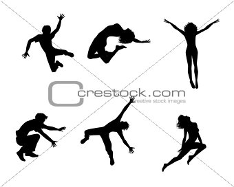 Six jumping teenagers